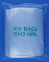 10x13 4mil clear zipper bags, pack of 100