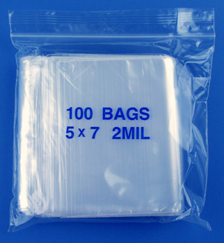 5x7 2mil clear zipper bags, pack of 100