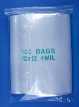 12x12 4mil clear zipper bags, pack of 100