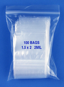 1.5x2 2mil clear zipper bags, pack of 100