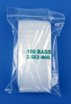 2.5x3 4mil clear zipper bags, pack of 100