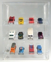 Acrylic Locking Display Cases <br>With Sliding Back & Angled Shelves