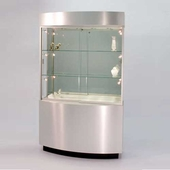 Quick Ship Curved Wall Display Case Silver