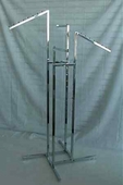 4-Way Clothing Rack w/ 2 Straight and 2 Slant Arms - Square Tubing