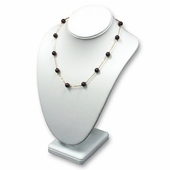 White Leatherette Stand Up Bust Jewelry Display