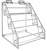 Gridwall Acrylic 3-Tier Racks with Tilted Shelves