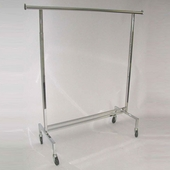 Rolling Clothes Rack - Square Tubing