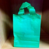 5in. x 7in. x 3in. Folded Handle Frosted Green Shopping Bags (Special)