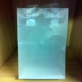 5in. x 7in. x 3in. Folded Handle Frosted Clear Shopping Bags (Special)