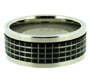 Laser Etched Checker Pattern Black Tone Stainless Steel Spin Ring 7 - 13