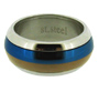 Rose Gold and Blue Smooth Contour Stainless Steel Spin Ring 7 - 12