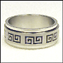 Greek Key Stainless Steel Spin Ring