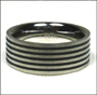 Stainless Steel Ribbed Band Ring (Size 7 and 8)