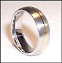 Stainless Steel Band  Ring w/ Gold Toned Trim
