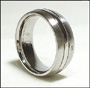 Stainless Steel Band Ring with Stone