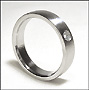Matte Stainless Steel Band  (5 mm) Ring with Stone