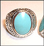 Men's Turquoise Sterling Silver Scrolled Vine College Ring Size 13