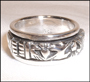 Irish Claddagh Heart  Friendship Silver Spin Ring Size 12
