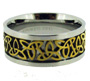 Stainless Steel Ring with Gold Tone Woven Center Size 6 - 18