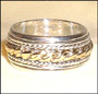 Two Tone Tibetan Sterling Silver Spin Ring Size 10, 11