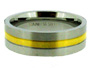 Two Tone Stainless Steel Ring with Gold Trim 7 - 13