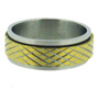 Cross Etched Gold Tone Stainless Steel Spin Ring 7 - 15