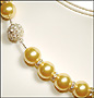 """Swarovski Gold Pearl  (12mm) Necklace with Rondelle (Plus Size 18"""")"""