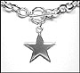 Star Charm Toggle Link Sterling Silver Necklace Bracelet Set (Medium)