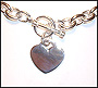 "Heart Charm Toggle Silver Link Necklace (Medium Plus Size 20"")"