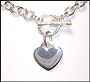 "Heart Charm Toggle Silver Necklace Bracelet Set (Medium Plus Size  20"")"
