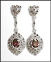 Marcasite Silver Dangle Earrings Amethyst Color Stones