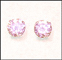 Round Pink CZ Stud Earrings  in Sterling Silver 5mm