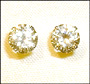 Round Yellow CZ Stud Earrings  in Sterling Silver 5mm