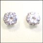 Round Clear Cubic Zirconia Stud Earrings in Sterling Silver (6mm)