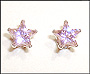 Star Pink Color CZ Earrings in Sterling Silver 7mm