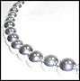 """Large Bead Graduated Sterling Silver Beaded Necklace (Plus Size 18"""")"""