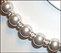 """Swarovski Silver Grey Pearl  (12mm) Necklace with Rondelle (Plus Size 18"""")"""
