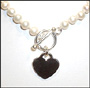 Freshwater Pearl Necklace with Silver Heart Charm 16""