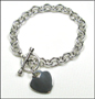 "Heart Charm Tag Toggle Link Silver Bracelet  7""-7.5"""