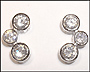 Rhodium Silver Alternated Bubble CZ Earrings