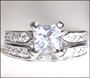 Princess Cut  Lock-in Band Engagement Silver Ring Set  Size 5 - 9