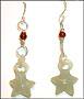 Hand Carved  Green Jade Star Earrings with Garnet in Silver