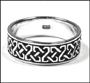 Men's Celtic Knot Silver Band Ring Plus Size 14, 15
