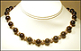 """Black Onyx and Gold Filled Bead Necklace (Plus Size 18"""")"""