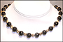 """Black Onyx and Silver Bead Necklace (Plus Size 18"""")"""