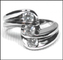 Three-Stone Wedding Ring in Silver Size 6 - 9
