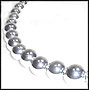 """Large Bead Graduated Sterling Silver Beaded Necklace 18"""""""
