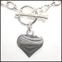 """Mini Link Heart Charm Toggle Silver Necklace (Light 16"""")"""