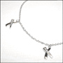 Tiara Silver Anklet with X Design Charm