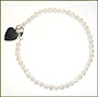 Pearl Anklet with Silver Heart Charm